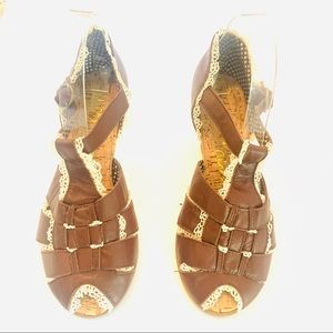 New Irregular Choice Brown Peep Toe Brown Wedge